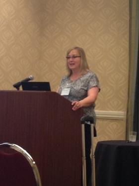 Kate Capshaw delivering Francelia Butler Lecture